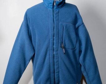 Vintage 1990's Patagonia Fleece Full Zip Mens XL Coat Jacket Slate Blue Made In USA Americana Warm Zip Pockets
