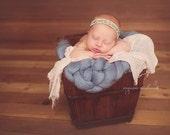 Blue Bump Blanket Newborn Photography Prop Mat Wool Merino Knit Unisex baby boy girl