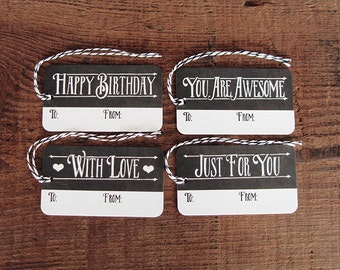 Chalkboard Assorted Gift Tags for Gift Wrapping - set of 12 - chalk art