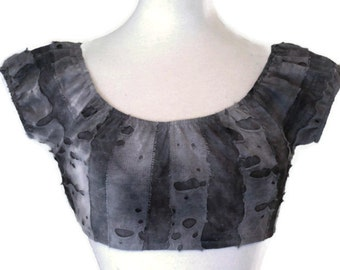 CLEARANCE SALE Zombie Tattered Knit Crop Top Horror Goth Gothic Punk Rockabilly Gothabilly for Halloween Costume Black Grey Gray Womens