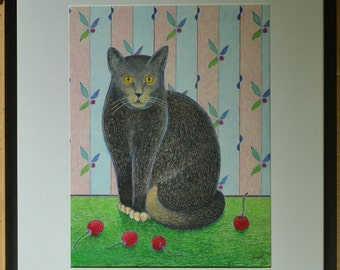"""Art Original Oil Pastel Drawing With Frame Cat Portrait Naive Art Cherry Wall Paper Animal Quebec Canada By Audet """" What ! ? """" 15"""" x 19"""""""