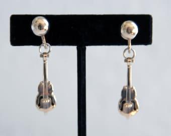 Vintage Violin Novelty Earrings