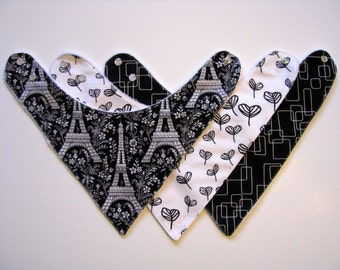 Baby Bandana Bibs- Black and White  Eiffel Tower    322 abc