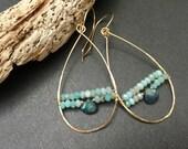 Aqua Hoop Earrings Wire Wrapped Labradorite Amazonite Gemstone Earrings Modern Bohemian Earrings Sundance Inspired Earrings