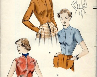 1950's Vogue Pattern No. 6840 of Fitted Waistcoat or Jacket  Bust 36