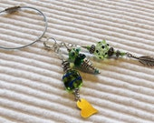 Lampwork beads, Keys, Scissors, Zipper Pull, Fob, Silver Hill Tribe beads, Heart, Valentines Day, Key Ring