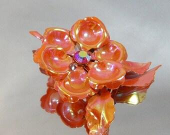 SALE Vintage Flower Brooch Mod Flower Power Red AB Iridescent Orange