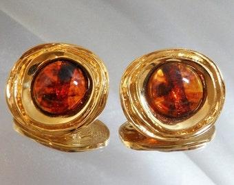 FALL SALE Vintage St John Earrings 22k Gold Plated and Faux Amber Tortoiseshell