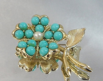 FALL SALE Vintage Flower Brooch Sarah Coventry Mod Flower Power Turquoise Pearl