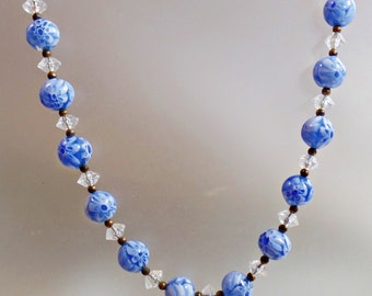 Vintage Murano Glass Necklace. Baby Blue Clear Crystal Millefiori Glass Necklace.  Venetian Italian Art Glass Bridal Wedding