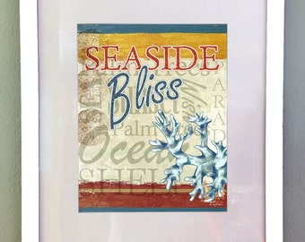 Ocean Seaside Nautical Art Print, Printable Wall Decor, Instant Download