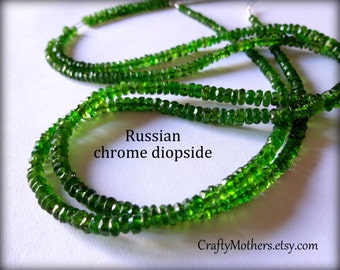 """WOW Russian Green CHROME DIOPSIDE Faceted Rondelles, 3.6-3.7mm, 2"""" strand, luxe natural gemstone beads, rare stones, unique jewelry supplies"""