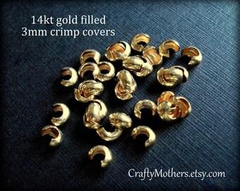 Use TAKE10 for 10% off! 3mm Gold Filled Crimp Covers, fits over 2x2mm crimp tubes