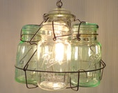 Vintage Mason Jar Basket CHANDELIER Light Fixture GREEN & CLEAR Quarts Upcycle Repurpose