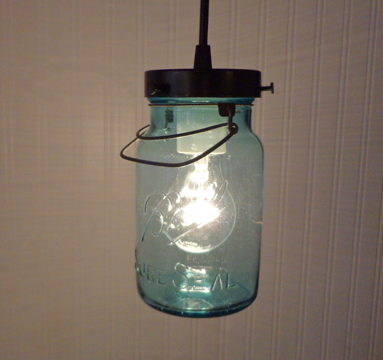 Mason Jar Chandelier: BLUE Mason Jar PENDANT Light Vintage Sure Seal Quart