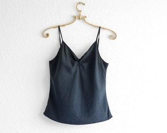 Silk Tank Top Silk Tank Crop Top Crop Tank Silk Minimalist Vintage Top Silk Vintage Tank Silk Vintage Shirt Black Silk Cami Top XS