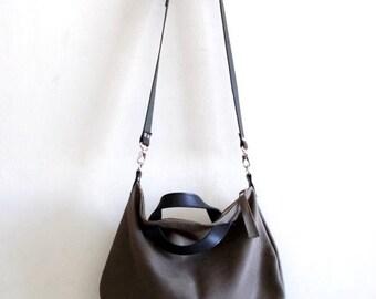 ON SALE Gray leather bag  Handbag - Cross-body bag