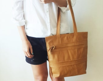 Tan Leather tote bag - Shoulder Bag -Every day leather bag - Women bag