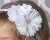 white flower headband, white hard headband, baptism headband, bridal headband, white hair accessory, flower girl headband, girl birthday