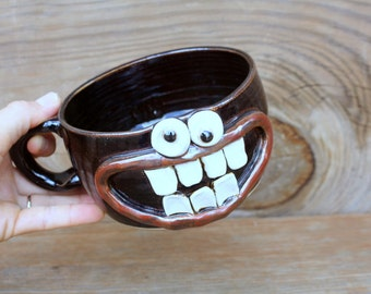 Fall Soup Mug. Stoneware Cereal Bowl with Small Handle. Silly Oops Face Chocolate Black. Unique Handmade Pottery. Microwave Dishwasher Safe.