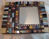 MOSAIC ACCENT MIRROR, Small Rectangular Mirror, Brown, Bronze, Gold, Silver, Home Decor