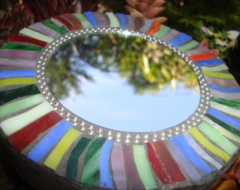 MOSAIC MIRROR, Accent Mirror, Small Round Mirror, Wall Art, Wall Hanging, Rainbow, Multicolored