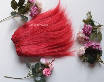 Wefted straight hair red for waldorf, Blythe natural Wool Hair, Blythe Doll Reroots, tress, fabric dolls, combed locks mohair goat