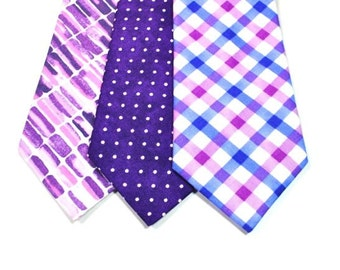 Purple Neckties Cotton Neckties Purple Wedding Neckties Mens Neckties Custom Neckties Mens Neckties