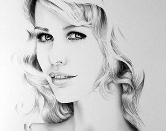 Claudia Schiffer Minimalism Pencil Drawing Fine Art Portrait Signed Print