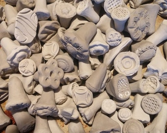 Set of 40 Ceramic BISQUE texture STAMPS for CLAY, pmc, fimo, and more! - many designs - great for adding a bit of detail to your work