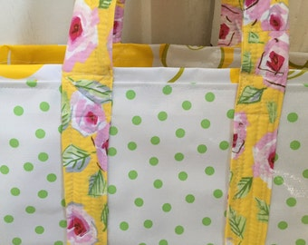Large retro oilcloth tote bag in spring green and yellow apples
