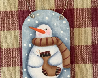 Small Blue Gift Tag Whimsical Snowman with Stocking Wood Christmas Ornament