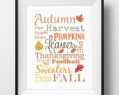 Autumn Fall Home Decor, Autumn Typography Wall Art - PRINTABLE Instant Download, Fall Wall Art,Autumn Print, Fall Sign, Autumn Sign, 3 Sizes