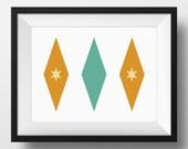 Mid Century Modern Print - Stars - PRINTABLE, Instant Download - Teal, Tan, Orange, Retro Styled Print, Mid-Century Poster, 3 Sizes