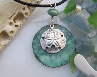 Blue Copper Pendant Silver Ocean Copper Jewelry