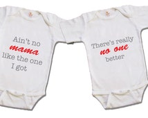 Ain't no mama twin gifts, Twin outfits, Funny twin Onesies, Cute twin Onesies, Baby Onesies, twin shirts