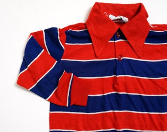 Vintage 1970s Boys Size 4T Striped Jersey Pullover Shirt