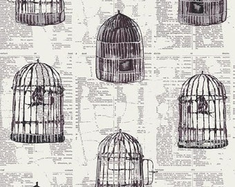 Wonderland Fabric from Art Gallery Katarina Roccella Uncaged Words Bird Cages on Newpaper Print Linen White