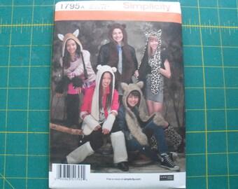 Simplicity 1795 Misses Mens Teens Animal Hats w/ Leg & Arm Warmers Pattern