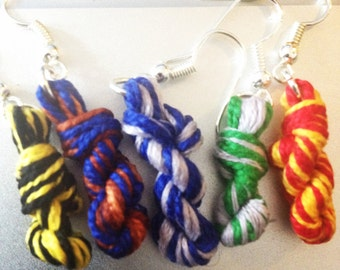 Hogwarts Two Color Yarn Skein Earrings