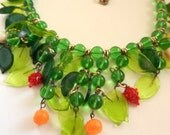 Fantastic Venetian glass leaves and fruit bib cascade necklace - Rare 1950s Venetian Blown green Glass Necklace -- Art.287/4 -