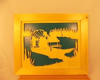 AIRBOAT FRAMED Hand Made Scroll Saw PICTURE