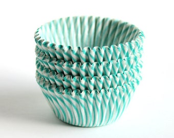 MINI Aqua Green Striped Cupcake Liners (100)