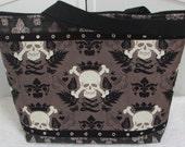 Damask Skull Large Tote Bag Black and Tan Fleur De Lis Shoulder Bag Edgy Gothic Purse Rocker Chic Bag Ready To Ship