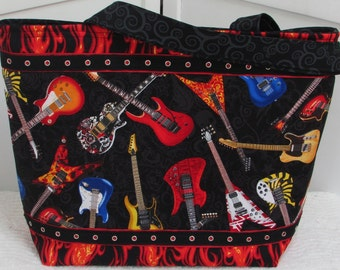 Electric Guitar Large Tote Bag Rock and Roll Alternative Fashion Purse Biker Flames Tote Bag Ready To Ship