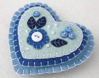 Felt Christmas ornament, Handmade felt heart ornament, Blue and white heart decoration, Floral heart ornament, Heart Christmas decoration