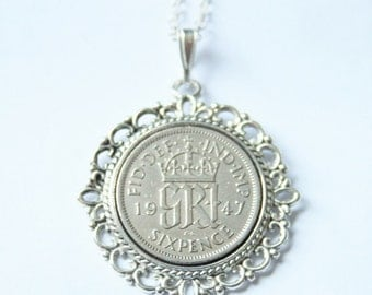 1947 birthday gift. Lucky Sixpence necklace. 1947 jewelry gift. 70th birthday gift. 70th birthday ideas. 70th birthday gifts for women
