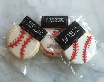 Baseball sugar cookies. Price shown is for 12 cookies.
