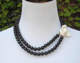 Kenneth Jay Lane Rose Necklace, Midnight Rose Collection, KJL for Avon, Black Bead Necklace, Multi Strand Necklace, Avon Necklace