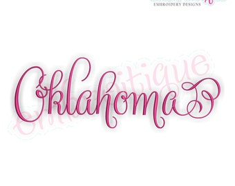 Oklahoma Calligraphy Fancy Script 3  - Instant Download Machine embroidery design